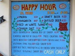 El Patio Happy Hour Menu Board